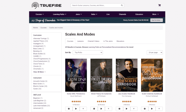 truefire learn guitar scale and modes lessons online