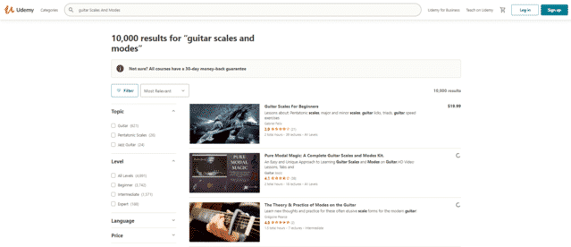 udemy learn guitar scale and modes lessons online