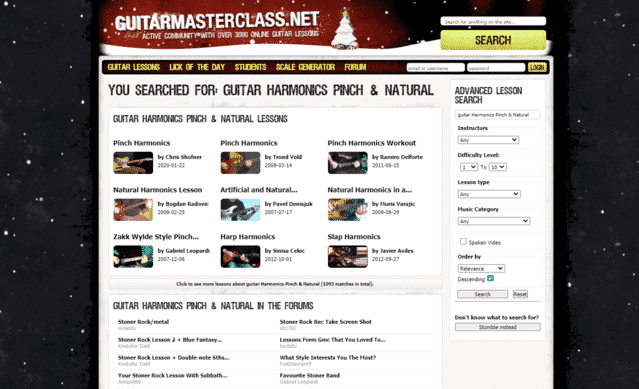 guitarmasterlcass learn guitar harmonics pinch natural lessons online