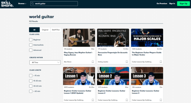 skillshare learn world guitar lessons online