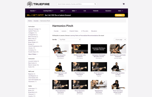 truefire learn guitar harmonics pinch natural lessons online