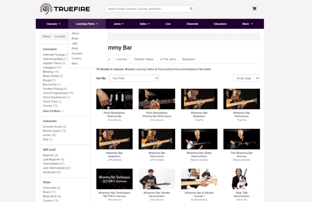 truefire learn guitar whammy bar lessons online