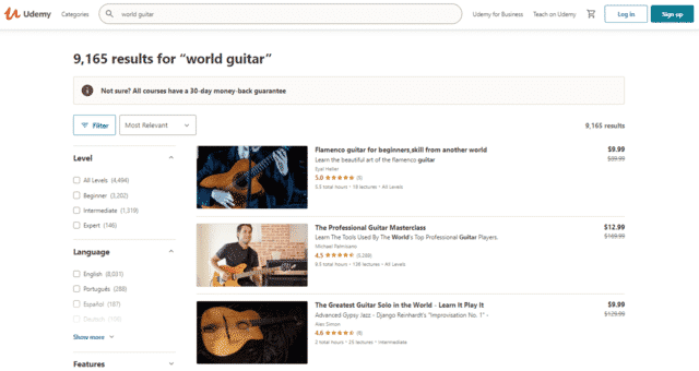 udemy learn world guitar lessons online